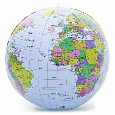 New Inflatable Blow Up Globe 40Cm Atlas World Map Earth - Free Post
