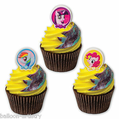 12 Assorted My Little Pony Childrens Birthday Favours Cupcake Rings Decorations