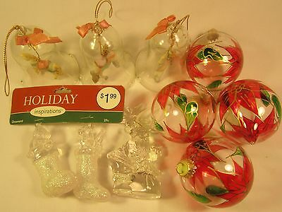 (Lot) Glass CHRISTMAS TREE ORNAMENTS Bells SANTA Stockings [Z168a]