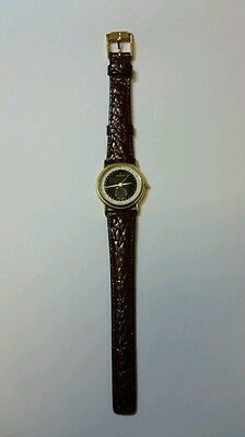 WOMEN'S MOVADO TWO TONE FACE BROWN LEATHER BAND 87-06-825