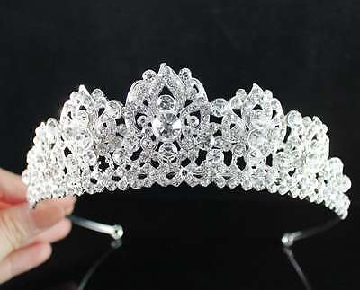 Glitter Clear Austrian Crystal Rhinestone Hair Tiara Crown Birthday Bridal T1818