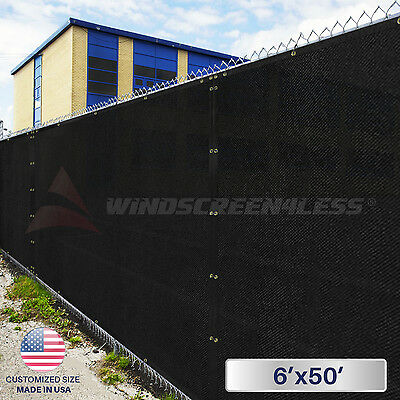 Black 6'x50' Privacy Screen Mesh Fence Cover Windscreen Fabric Zip Ties Included