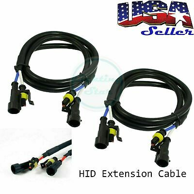 """2 pcs 36"""" 3 ft HID Extension Wire For 35W & 55W Ballast and Xenon Bulbs"""