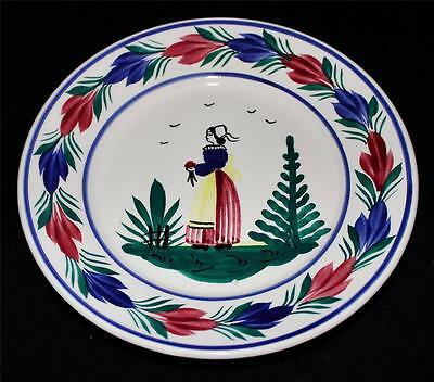 """Henriot Quimper Salad or Appetizer Plate, 7 1/8"""", Woman or Lady Center, Faience"""