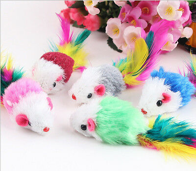 5x Furry Mouse Cat Kitten Real Fur Gravel Sounds Cute Toy Faux Mice Cat Toys