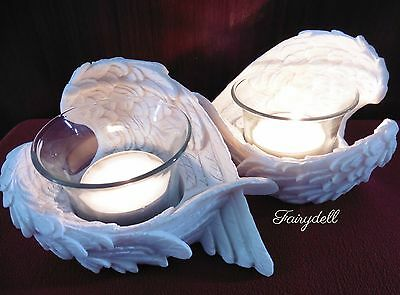 Feathered Angel Wings Tea Light Candle Holder ~ Memorial  Ornament~  Remembrance
