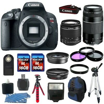 Canon EOS Rebel T5i 700D Body + 4 Lens Kit 18-55 STM +75-300 + 32GB Top Kit