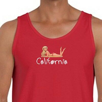 CALIFORNIA Girls Beach Party T-shirt Funny Sun Sand Fun Men's Tank Top