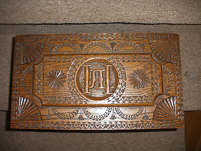Beautiful Antique Hand Carved Large Decorated Wood Box With Brass Handles