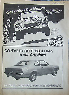 Ford Cortina Crayford Convertible 1972 Advert Ready To Frame
