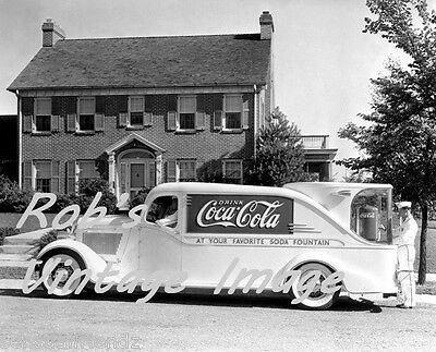 Coca Cola Soda Founain Advertising Truck Photo Vintage Art Deco era photo