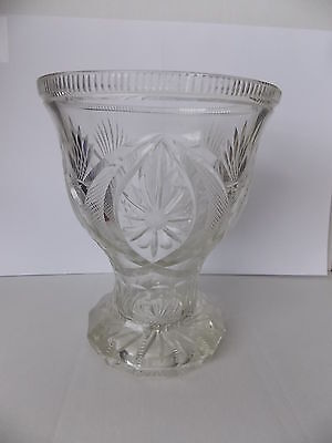 Vintage Antique Collectable Retro Large Heavy Crystal Vase Flower Diamond Motif