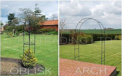 Metal Garden Arch & Obelisk Trellis for Climbing Plant Roses Flower Way