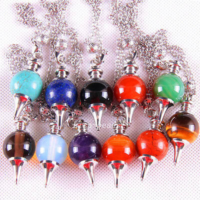Mixed Natural Lapis Opal Agate Crystal Beads Pendant Pendulum with Chain 1Pcs