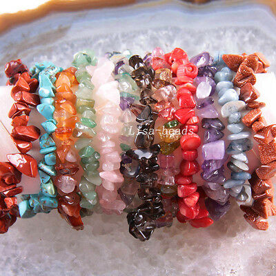 """Natural Chip Beads Multi-color Shell Coral Agate Crystal Stretch Bracelet 8"""""""