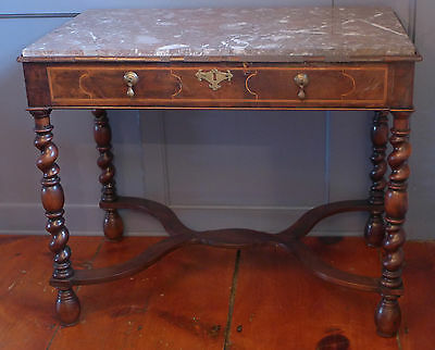 Antique Baroque Inlaid Walnut Table with Marble Top, 17th Century