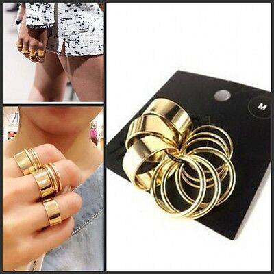 9Pcs Punk Stack Plain Gold Shiny Cute Above Knuckle Ring Band Midi Rings Set