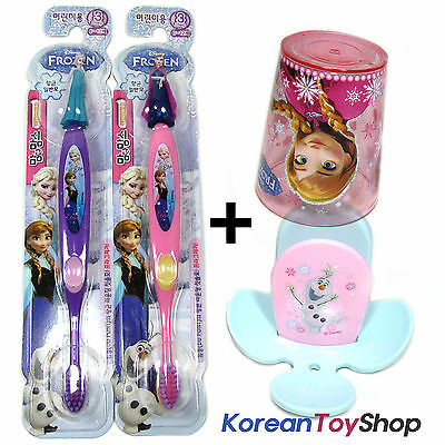 Disney Frozen 3D Figure Toothbrush 2 pcs & Holder on Wall & Cup Set for Children