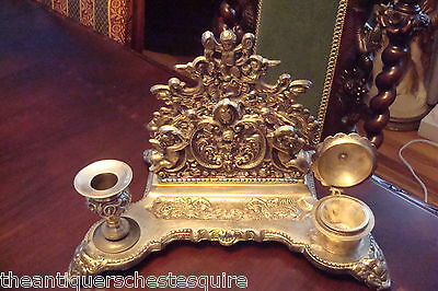 Victorian, antique Silver Plated ink stand, features an ornate base[*]