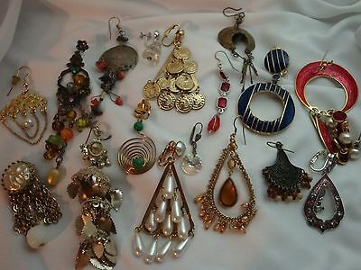 Jewelry Lot of 18 Single Dangle Earrings to Up-cycle,Harvest, Steam Punk Art