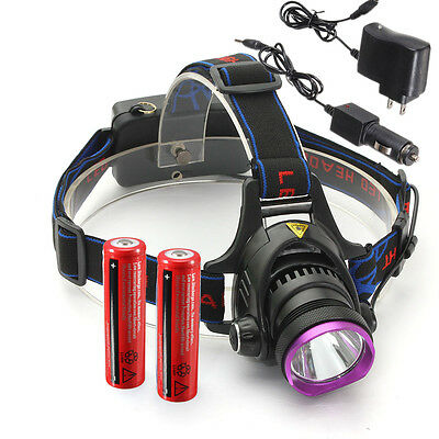 2500LM CREE XM-L T6 LED Rechargeable Flashlight Torch 18650 Battery w/ 2 Charger