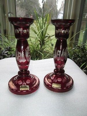 DEER & CASTLE THEME CANDLE HOLDERS RUBY RED CUT TO CLEAR EGERMANN CZECH GLASS