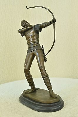 MALE NUDE ROMAN ARCHER PURE BRONZE  SCULPTURE FIGURE STATUE SIGNED ART FIGURINE