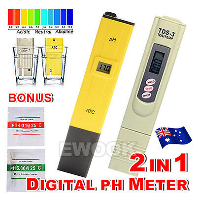 AU Digital Ph Meter+TDS Tester Aquarium Pool Hydroponic Water Monitor 0-9999 PPM