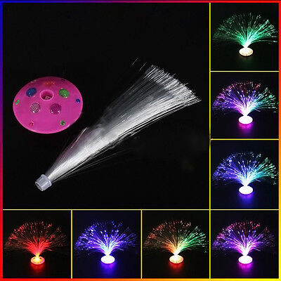 Color Changing LED Fiber Optic Night Light Lamp Colorful Stand Home Decor 1pc