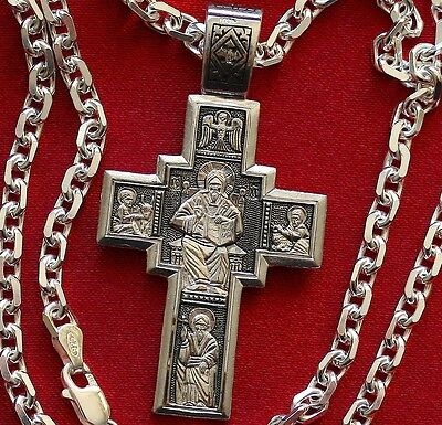 RUSSIAN ORTHODOX CROSS, SILVER 925.LORD ALMIGHTY CRUCIFIX. STRONG SILVER CHAIN