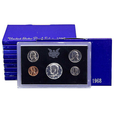 1968 S Proof Set 10 Pack Nice Original Boxes 40% Kennedy US Mint 50 Coin Lot
