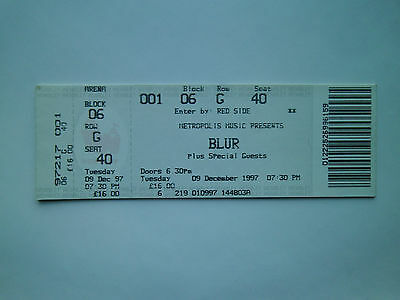 RARE BLUR MEMORABILIA - Ticket Stub(s) London Wembley Arena 09/12/97