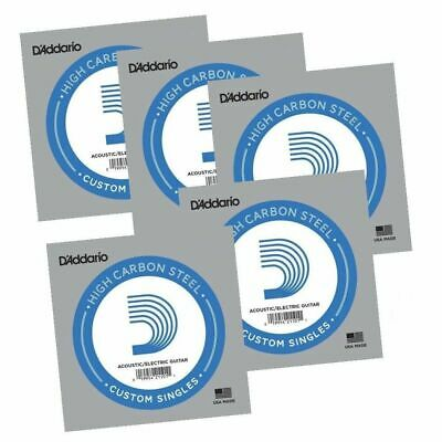 5 x D'Addario PL017  single plain steel Electric / Acoustic Guitar strings