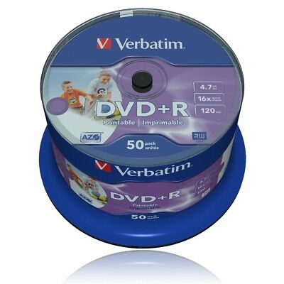 Verbatim DVD+R 16x Speed Printable 50er Spindel 4,7GB DVD-Rohlinge 43512 / Neu