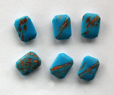 VINTAGE 6 OPAQUE TURQUOISE GLITTER GLASS OCTAGON BEADS 13 x 18mm WEST GERMANY