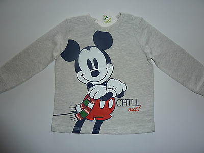 DISNEY Really Cute Mickey Mouse Chill Out! Grey Long Sleeve Top NWT