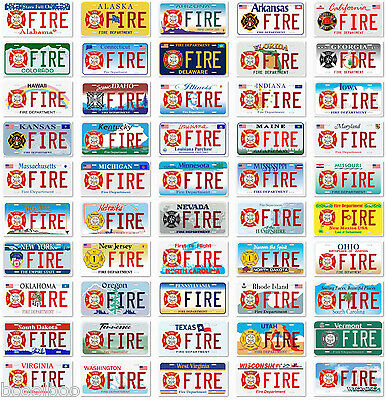 Lot of 50 US Fire Department Aluminum Novelty Car License Plate