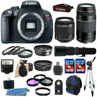 Canon EOS Rebel T5i 700D Body + 18-55 STM +75-300mm + 9 Lens Super Zoom Lens Kit