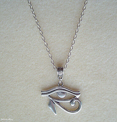 "Eye of Horus Eye of Ra Wedjat Protective Egypt God Amulet Pendant 21"" Necklace"