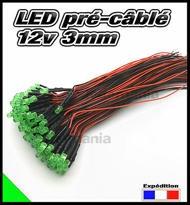 260C# LED 3mm 12v pré-câblé vert diffusante 5 à 100pcs - pre wired LED green