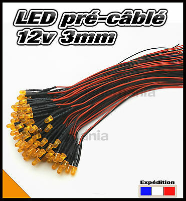241C# LED 3mm 12v pré-câblé orange diffusant 5 à 100pcs - pre wired LED orange