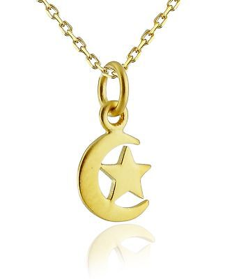 Tiny Crescent Moon and Star Necklace - 24k Gold Plated 925 Sterling Silver - NEW
