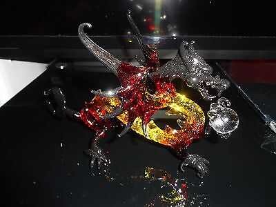 Dragon Yellow Black Red Figurine of Blown Glass Crystal