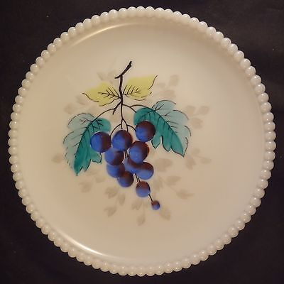 "WESTMORELAND BEADED EDGE FRUIT LUNCHEON PLATE – GRAPES Milk Glass 7 3/8"" Dia."