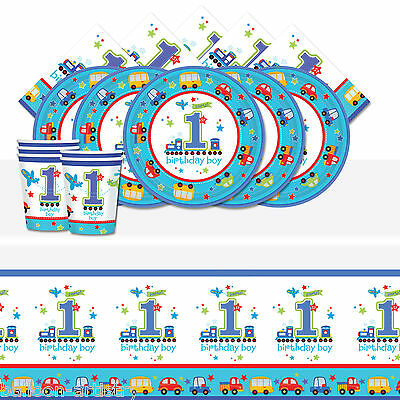 All Aboard Blue Boy's 1st Birthday Complete Party Tableware Pack For 16 People