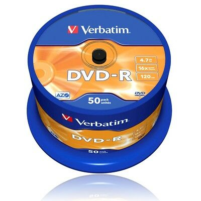 Verbatim 43548 DVD-R 16x Speed 50er Spindel DVD-Rohlinge 4,7GB