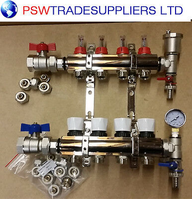 underfloor heating manifold 4 port.  Pipes conectors size 16mm / 15mm
