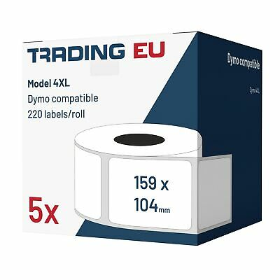 5x Label kompat. zu Dymo 4XL 104x159 mm 220 Label etiketten pro Rolle