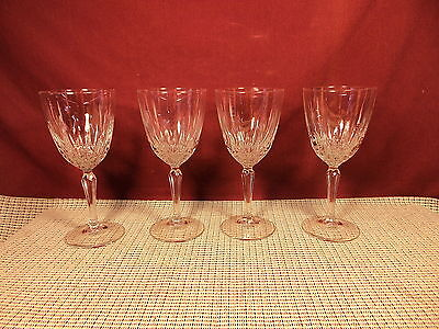 "Cristal d'Arques Crystal Diamant Pattern Set of 4 Wine Goblets 6 3/4""  8 oz"