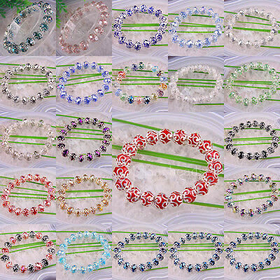 """Free Shipping Multi-color Crystal Faceted Beads Stretch Bracelet 7"""" 1Pcs"""